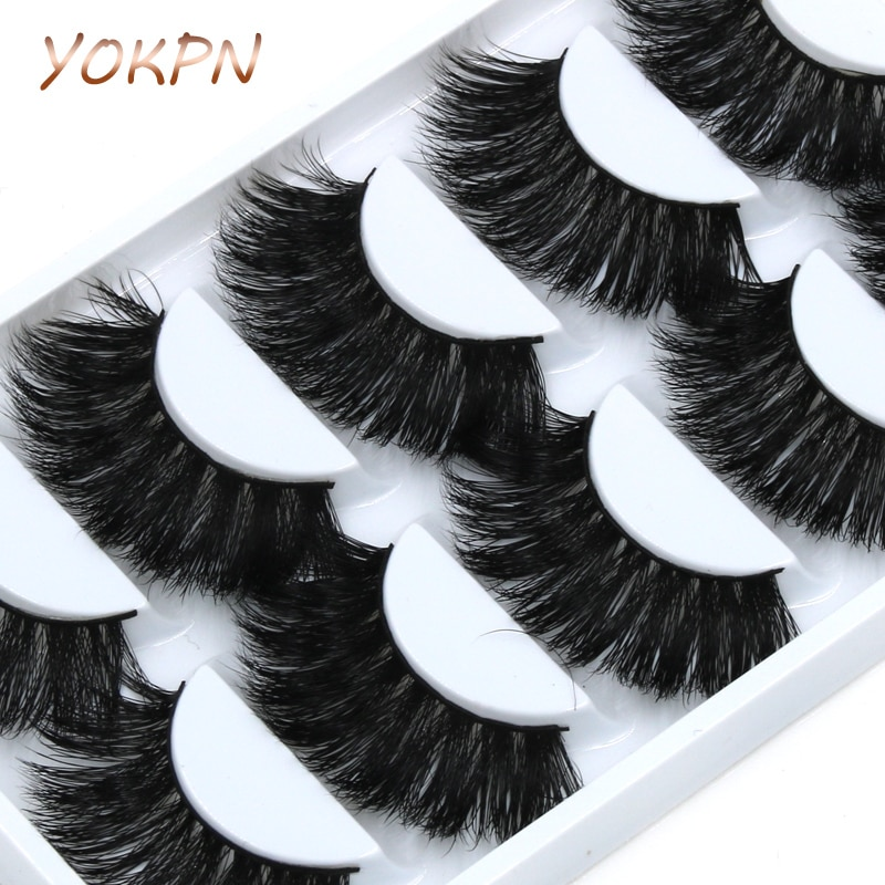 Yokpn 5 pares vison cílios postiços crisscross confuso grosso exagerado longo falso cílios estágio romance maquiagem vison cílios olho
