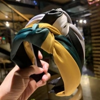 new 2019 womens fashion headband twisted hair band ladies retro color matching knotted hair band female silk hair band