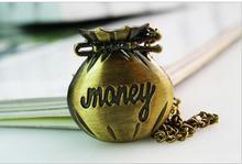 Offre spéciale Antique bronze sac à main argent motif enfants pendentif quartz montre de poche collier