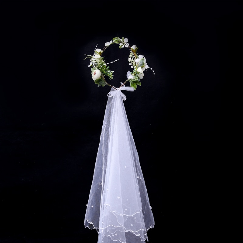 Bride Bridesmaid Wedding Headwear Hair Accessories Girl Flower Wreath Crown Veil Hairband Headdress Adjustable Floral Garland