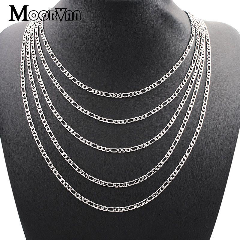Moorvan figaro corrente colar masculino jóias acessórios, aço inoxidável colar feminino jóias, atacado 4mm, 45 cm-65 cm vn325