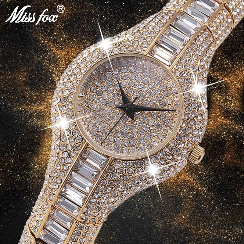 MISSFOX 30 мм маленькие женские часы противоударный Водонепроницаемый роскошные женские Ar Металлические Часы Браслеты Стразы (Австралия) и Bu (дешевые китайские часы