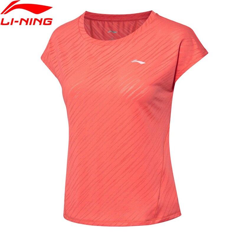 Li-ning mujeres corriendo camisetas respirables de manga corta 91% poliéster 9% Spandex Li Ning LiNing deportes camiseta ATSP194 WTS1511