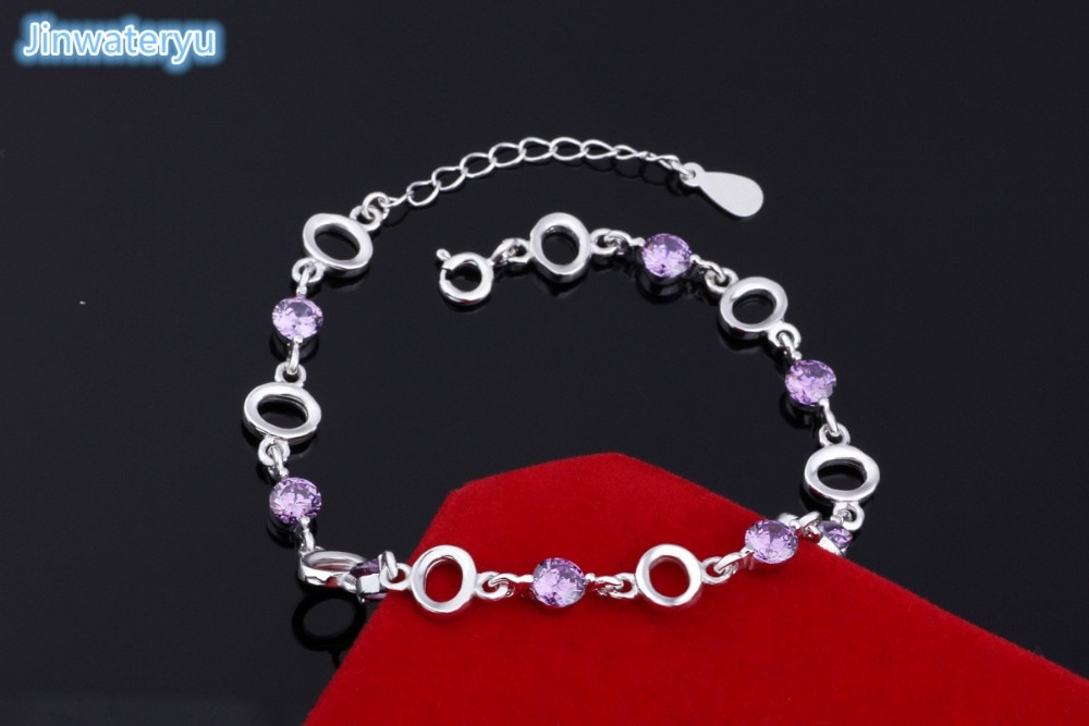 Bracelets bijoux fantaisie 925 Bracelets en argent Sterling bracelets cristal blanc violet bonne qualité bracelet 20.5 cm de longueur