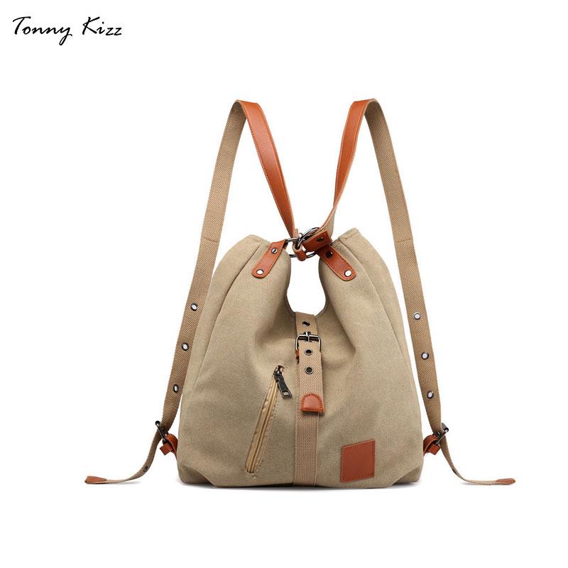 Женские холщовые сумки на плечо Tonny Kizz, многофункциональные сумки высокого качества для студентов, школьные дорожные сумки большой вместимости