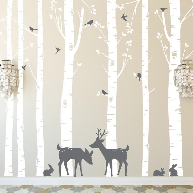 [해외] 거대한 크기의 나무 벽 스티커 세트 7 자작 나무 사슴과 새 2 색 이동식 비닐 벽 데칼 나무 장식 ZA316
