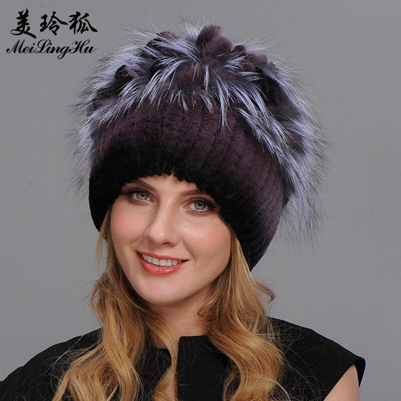 قبعة شتوية من فرو الأرانب للنساء ، قبعة شتوية من فرو الثعلب الفضي ، محبوكة ، عالية الجودة ، جديدة