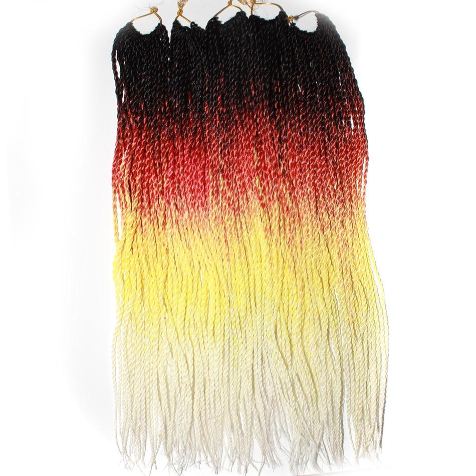 Qp شعر 24 بوصة أومبير السنغالية تويست الشعر الكروشيه الضفائر 30 جذور/حزمة جدائل شعر صناعية للنساء رمادي ، bonde ، وردي ، بني