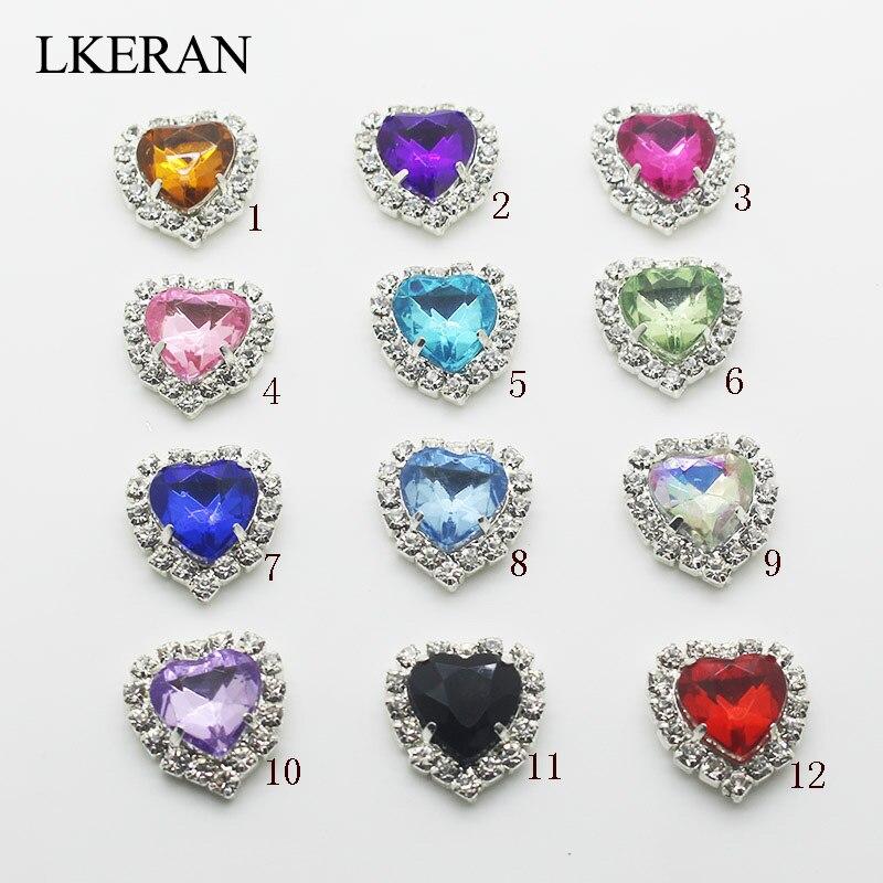 Lkeran tomada de fábrica 18*16mm acrílico coração-em forma de strass botão flatback pode misturar cores para 10 pçs/lote