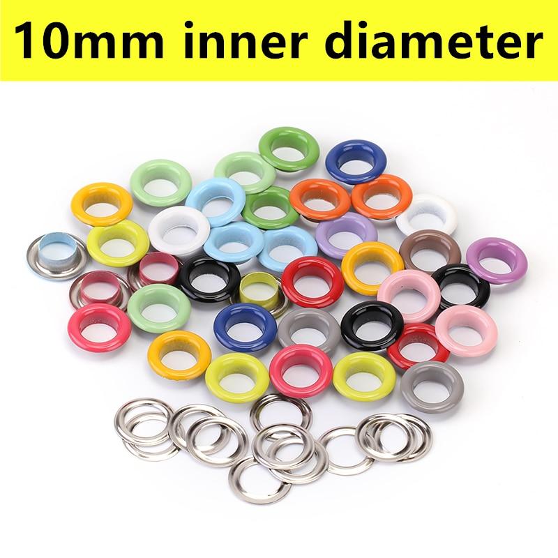 100 Uds ojales de Metal ojales para artesanía de cuero álbum de recortes de manualidades hechas a mano accesorios 10mm de diámetro interno 16 colores disponibles