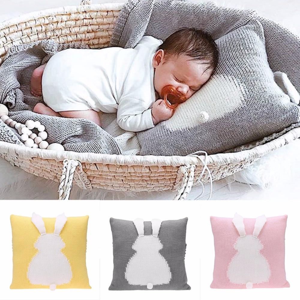 Funda de cojín con adorable dibujo de conejo en 3D para asiento de silla de niños, funda de almohada decorativa para sofá cama tejida para bebé, accesorios de fotografía, almohada para bebé