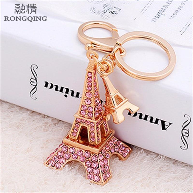 Llaveros de coche de la Torre Eiffel de cristal rosa de moda 2016 Soporte para Llavero femenina para las mujeres París regalo de hito
