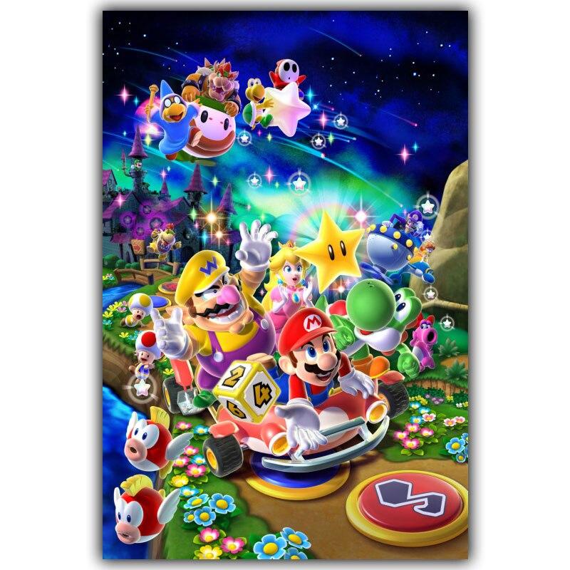 Póster de tela de seda artística supermario Bros Game Hot 30x45cm 60x90cm 80x120cm imagen decoración del hogar