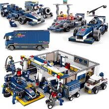 Stadt Kompatibel racers Formel 1 Auto Racing F1 station transport Lkw sets bausteine abbildungen Kid Spielzeug kind fahrzeug