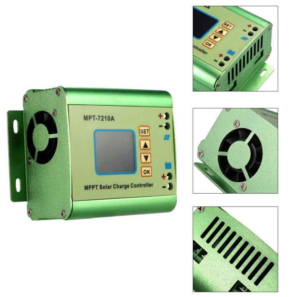 Liga de alumínio do lcd do controlador da carga do painel solar de MPT-7210A mppt para a bateria de lítio 24 v/36 v/48 v/60 v/72 v bateria