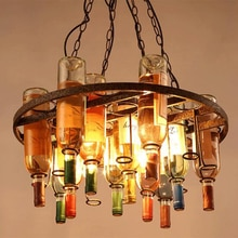American retro industrial art wine bottle glass E27 pendant lights for living room dining room restaurant bar cafe hotel hall