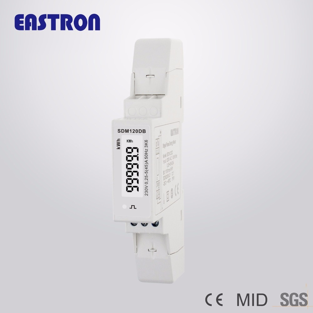 SDM120DB MID, 1 Fase 2 Fio, 45A, 230 v, MID aprovado, S0 Saída de Pulso, kwh Medida, em Trilho DIN Medidor da Energia, Medidor do kWh