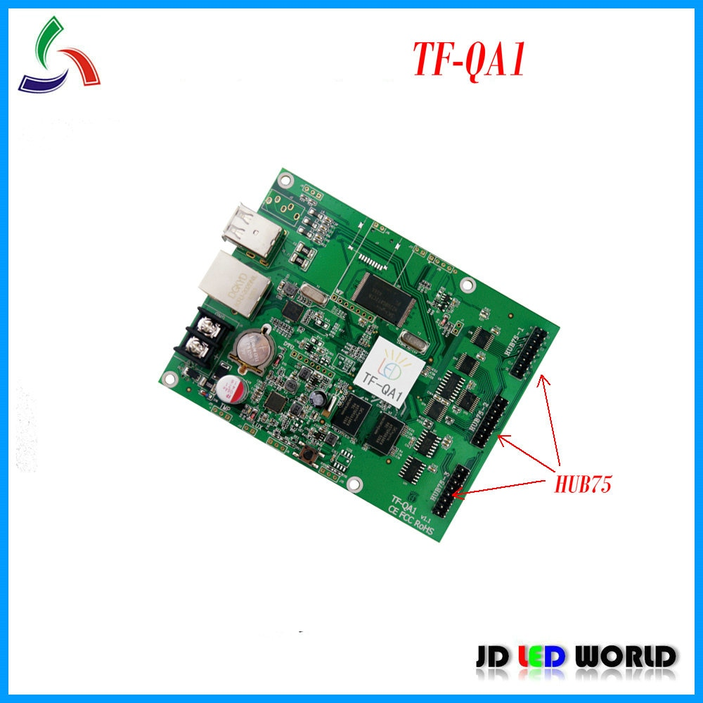 TF-QA1 tarjeta de Control de pantalla LED de vídeo en color completo viene con puertos USB y Ethernet 3 grupos HUB75