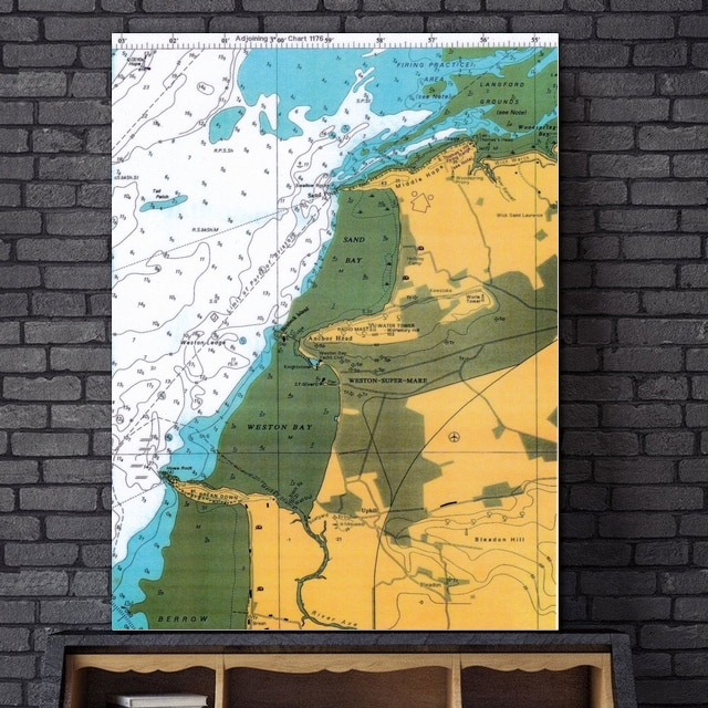 Cuadros modernos en lienzo con diseño de mapa de Bridgwater Bay
