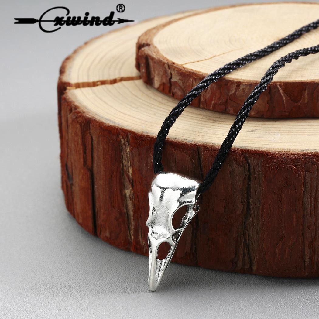 Collares de calavera de cuervo Vintage collares 3D Animal pájaro calavera colgante collar de bronce vikingo joyería para hombres Punk Bijoux