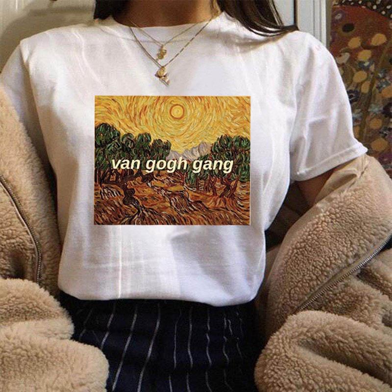 ¡Novedad de 2019! Camiseta Tumblr a la moda con estampado Harajuku de manga corta y cuello redondo para mujer, Camiseta de algodón, camisetas artísticas Van Gogh