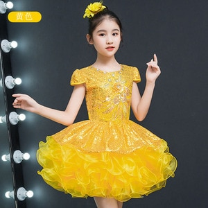 Cheap Flower Girl Weddings Ball Gown Short Pageant Sequined Flowers Girls Dress for Kids Yellow Party Dresses