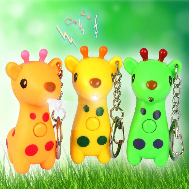 Bonito llavero de jirafa con luz LED con sonido vocal brillante ANIMAL PEQUEÑO colgante con llave de jirafa accesorios creativos de joyería de regalo