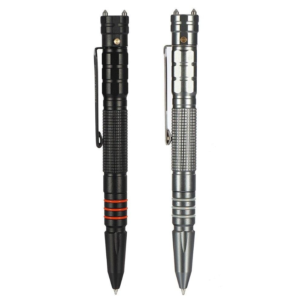 Herramienta de pluma táctica de acero de tungsteno multifuncional con linterna LED, lámpara de antorcha, martillo de seguridad de autoprotección