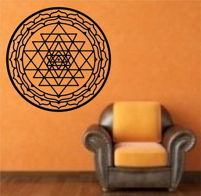 Sri Yantra, calcomanía de pared extraíble para sala de estar, pegatinas de pared, arte Mural, diseño moderno, decoración del hogar, Mandala, patrón Interior, DecorSYY670