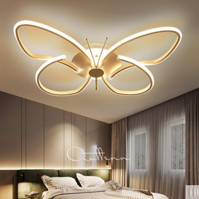 Simples e moderno nordic criativo branco acrílico dos desenhos animados borboleta quarto conduziu a lâmpada do teto regulável lâmpada de iluminação controle remoto