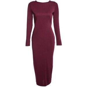 Simple Round Collar Long SLeeve Zipper Design Skinny Midi Dress for Women sexy Belle Dress Make You Thin Q255