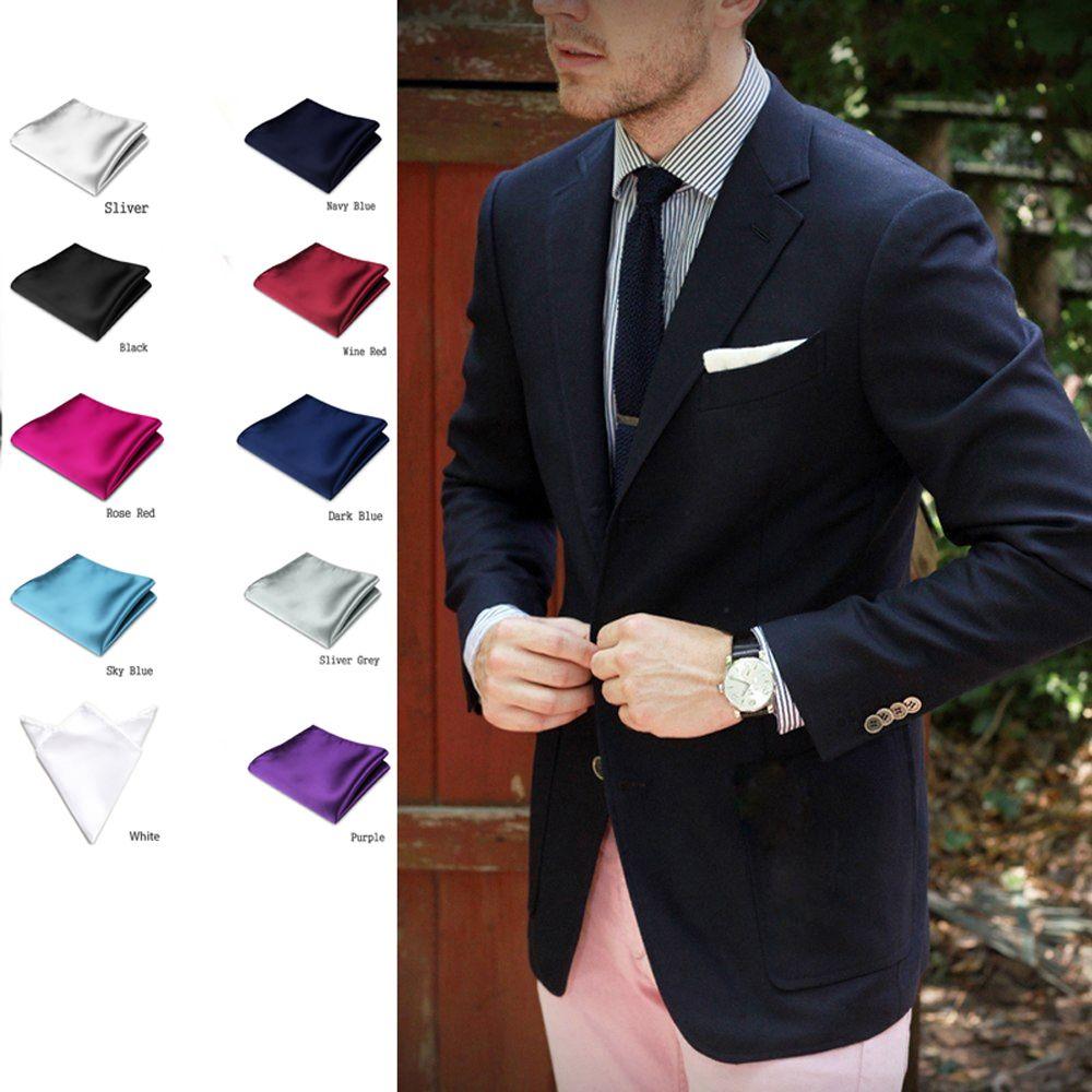1PC New Fashion Men Formal Silk Satin Pocket Square Hankerchief Hanky Plain Solid Color Wedding Party accessories 15 colors