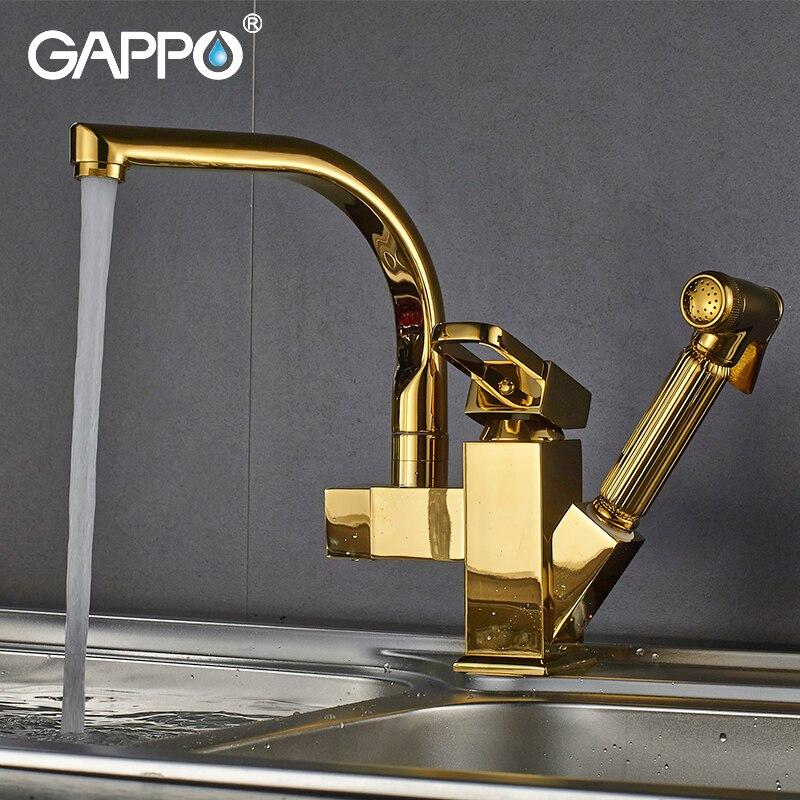 Gappo المطبخ الحنفيات الذهبي تدوير المطبخ سحب المياه خلاط الحنفيات مرنة المطبخ بالوعة المياه صنبور حوض خلاط armatur