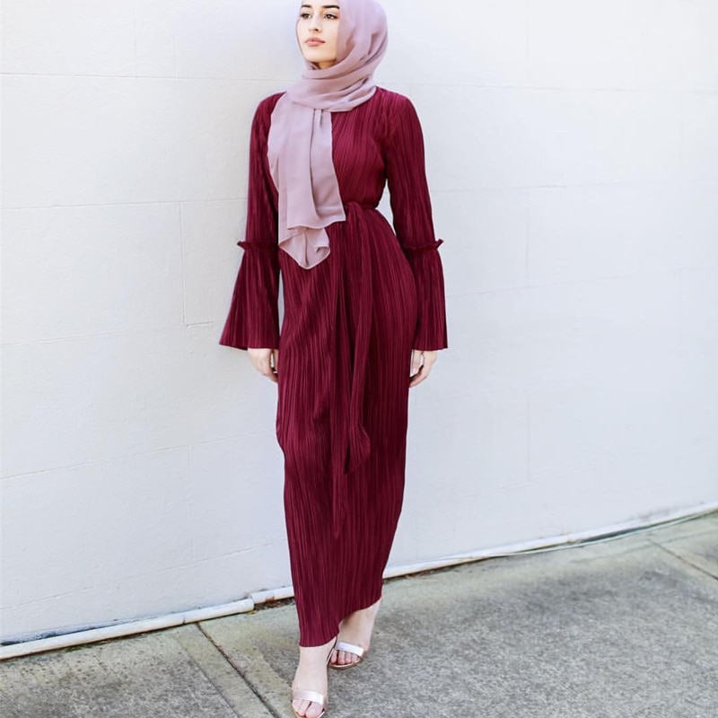 Plus Size Vestidos UAE Abaya Dubai Kaftan Long Bandage Pleated Maxi Muslim Hijab Dress Women Arab Turkey Islamic Prayer Clothing