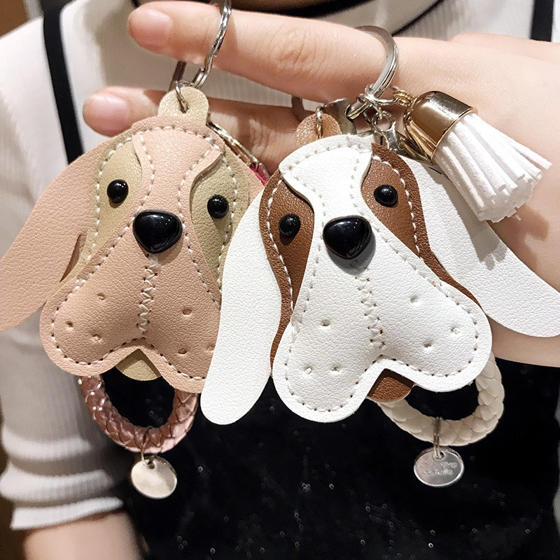 Lindo bolso de borla hecho a mano de cuero de PU Peluche de cachorro llavero con animal mujer bolso accesorios para colgante de amuleto joyería de moda