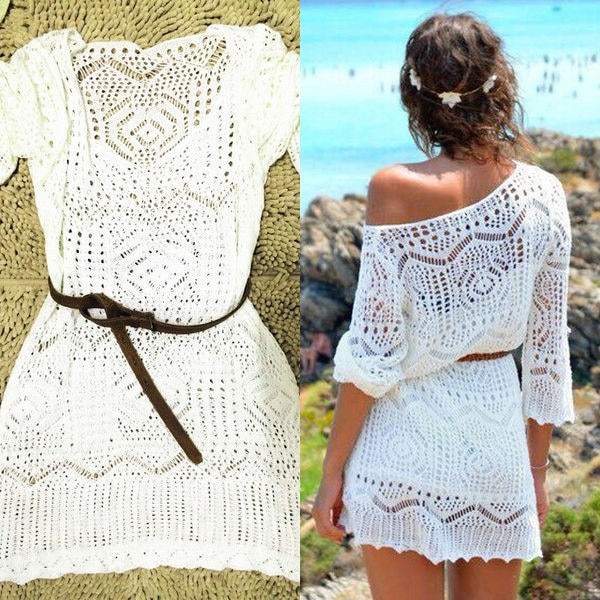 Sexy para mujer de encaje Crochet Bikini cubrir traje de baño verano media manga playa Vestido de playa