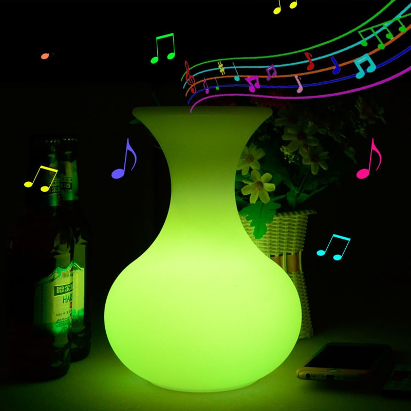 Outdoor waterproof LED night lights usb rechargeable RGB bluetooth speaker with 24 Keys Remote Control decoration lighting lamp enlarge