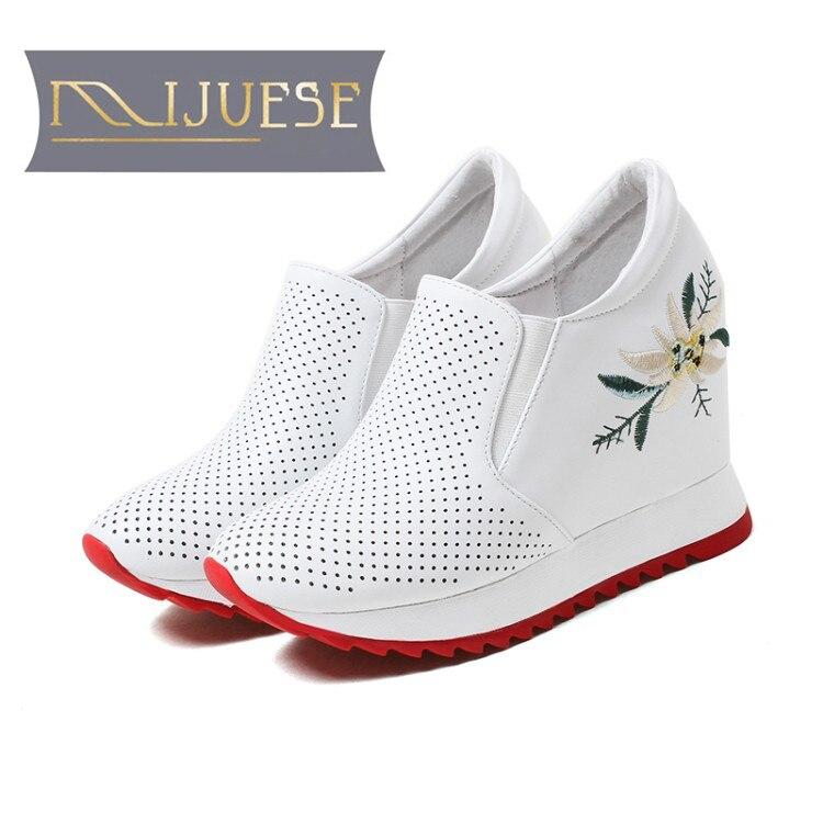 MLJUESE 2018 zapatos de tacón alto para mujer de cuero de vaca, zapatos de tacón alto internos con plataforma, zapatos de barco, zapatillas deportivas