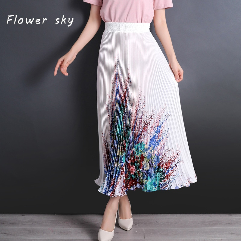 FLOWER SKY Skirt For Women Flower Print Elastic High Waist Maxi Long Pleated Skirts Female 2018 Spring Fashion Clothing