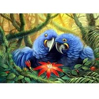 5d diy full round diamond painting two blue parrot diamond embroidery cross stitch stickers home decor handmade craft