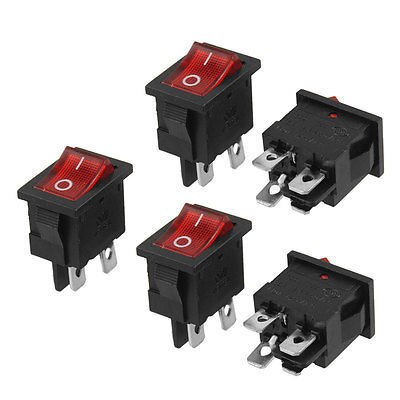 Free shipping!AC 250V 6/12A 125V 10A Double Pole Single Throw Rocker Switch 5 Pcs