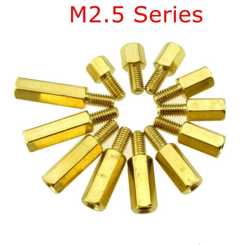 10 stücke M2.5 Serie Messing Kupfer M2.5 Hex Spalte Standoff Unterstützung Spacer Säule PCB Board Männlichen zu Weiblichen