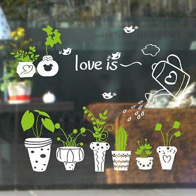 Adesivo de parede de janela para decoração, decalque de parede em pvc para casa, plantas e flores, decoração caseira, faça você mesmo, sala de estar