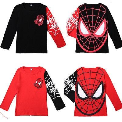 Venta caliente niños, bebés camiseta héroe Spiderman Tops de manga larga Camiseta ropa