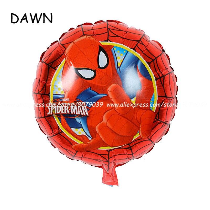 10 piunids/lote dibujos animados Spiderman globos de aluminio 18 pulgadas película redonda dibujos animados cumpleaños fiesta decoraciones niños fiesta suministros