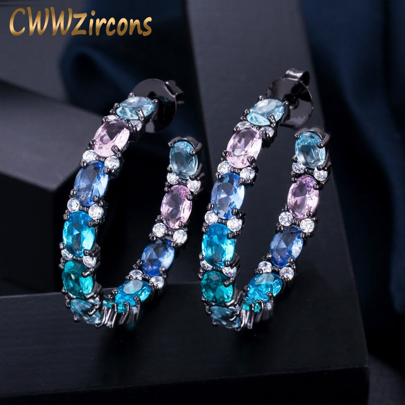 Cwwzircons grande círculo redondo preto ouro multi cor azul zircônia cúbica cristal brincos de argola feminino luxo cz jóias presente cz580