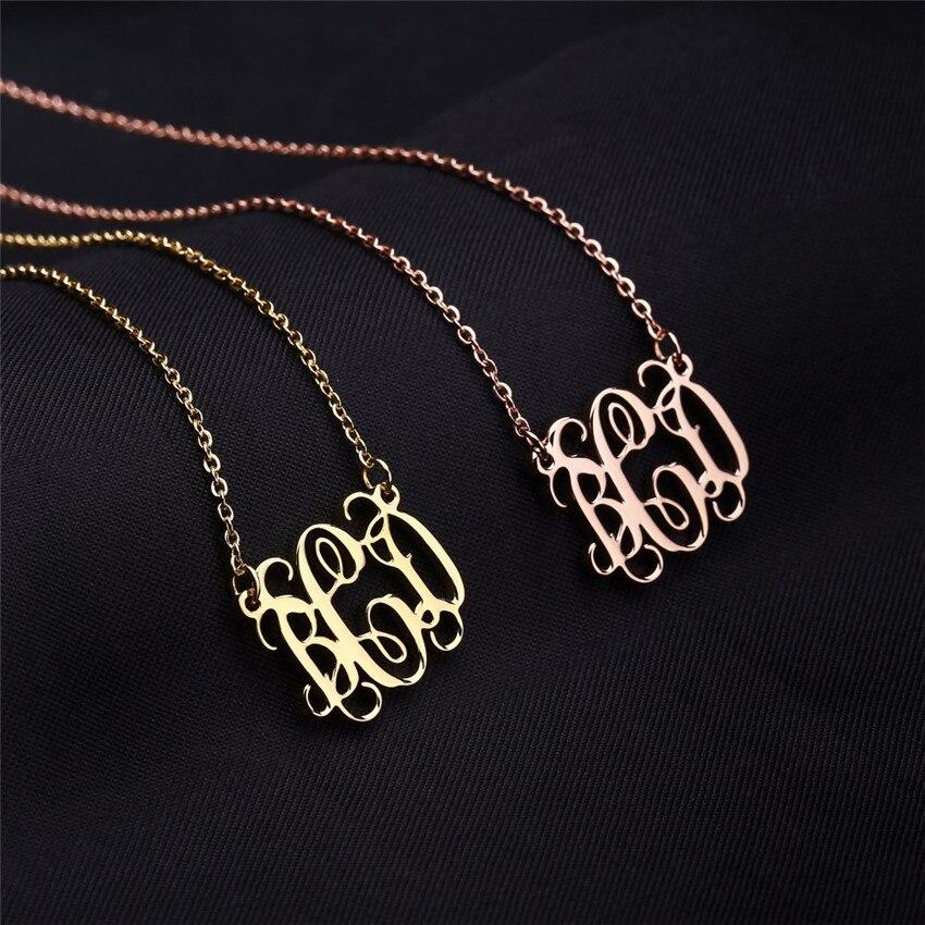 Elegante colar de iniciais colar personalizado monograma pingente colares rosa ouro colares mujer bijoux personalizado presentes da dama de honra