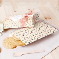 50pcslot flower pillow candy box ribbon bow present carton pouch kraft paper box wedding favors gift boxes wedding party supply