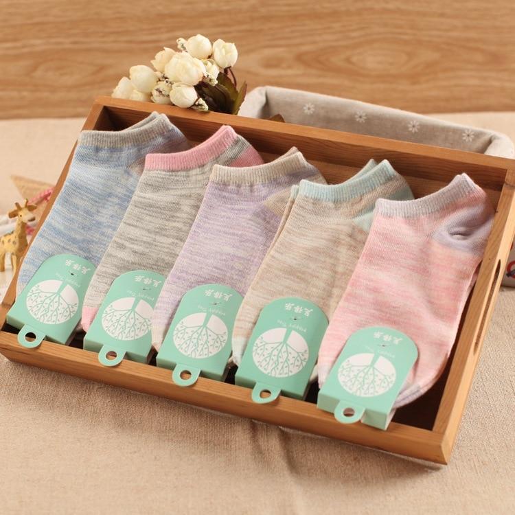 10 unidades = 5 pares de calcetines tobilleros femeninos de color fresco y puro de verano, calcetines de algodón puro para mujeres, bonitos Calcetines para mujeres
