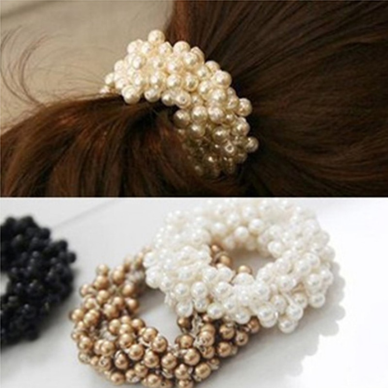 1PCS Fashion Pearl Headwear Elastic Hair Bands Rubber Ring Tie Accessories Headband For Women A148